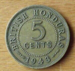 British Honduras South America 5 Cents Coin 1943 Almost EF Grade Scarce....