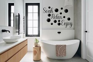 Soak Relax Enjoy Wall Stickers with Bubbles Decals Bathroom Home Art Decor