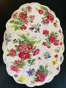 NEW April Cornell Set Of 8 Quilted Placemats Oval Artist Garden $92 New With Tag
