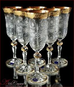 Bohemia Crystal Champagne Glasses 21 cm, 190 ml, Caezar Gold 6 pc New!