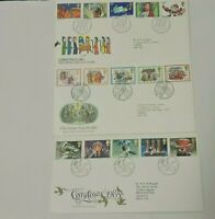3x GB FDC & Insert 1981 1982 1983 Christmas Full Set Philatelic Bureau Edinburgh