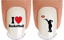"""Nail Art #303 SPORTS """"I love Basketball"""" Waterslide Nail Decals Transfer Stickr"""
