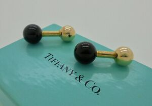 Authentic Vintage Tiffany & Co. Black Onyx 14k Gold Barbell Ball Cufflinks RARE