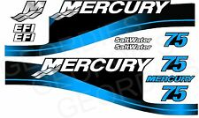 MERCURY 75 OUTBOARD MOTOR STICKERS DECAL KIT ENGINE BLUE