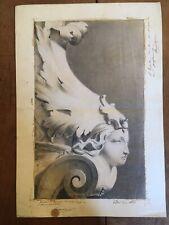 Très beau Dessin Lavis 1860 ornement feuille très fin visage sculpture