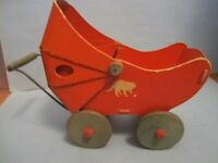 Vintage A Fibro Toy Red Doll Carriage