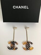 NWT Chanel Large CC Logo Brown Crystal Charm Chain Drop Statement Earrings w/Box