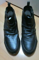 Yohji Yamamoto Adidas Y-3 Womens Size 8.5 Black Leather Ankle Boots Side Zip