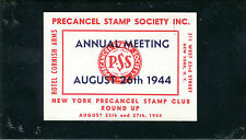 Vintage Poster Stamp 1944 PRECANCEL STAMP SOCIETY Annual Meeting NY Cornish Arms