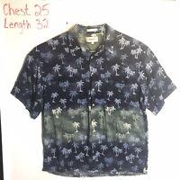 Campia Moda Mens XL Hawaiian Shirt Aloha Blue Green Palm Trees Camp 100% Rayon