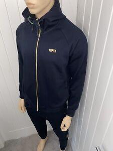 Hugo Boss Tracksuit Hooded Jacket & Pants Mens Navy/gold Size Medium £112