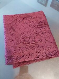 """1 Burgundy Red Lace Panel sheer curtain ( 38""""W, 82"""" tall) Pre-owned"""