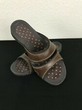 Lands End Wide Strap Slide Sandals Brown Women's Size 8D