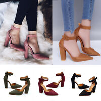 Women Summer High Block Heels Shoes Buckle Ankle Pointed Toe Sandals Party Shoes