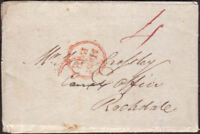 1819 PRE-STAMP ENTIRE MANCHESTER PAID CANCEL & MANUSCRIPT '4' TO ROCHDALE