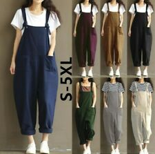 Womens Loose Dungarees Jumpsuit Oversize Baggy Overalls Strappy Fashion Trousers