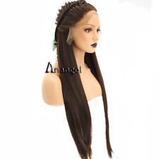 Anogol Long Straight Braided Synthetic Hair Brown Lace Front Wig for Bride Wigs