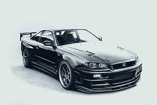 Nissan Skyline R34 GTR 30x20 Inch Canvas - Framed Picture Print Art