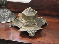 Antique French Brass Ornate inkwell cir 1900/1910s Edwardian Desk Office Gift