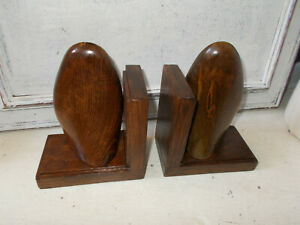 Vintage wooden shoe last bookends x 2 upcycled good condition