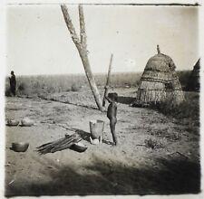 Afrique Habitation Photo NF4 Plaque de verre Stereo Vintage ca 1910