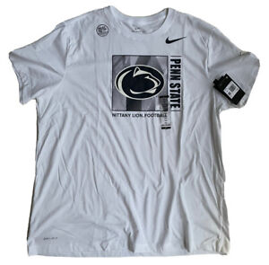 NIKE PENN STATE NITTANY LIONS T SHIRT SIZE 2XL FOOTBALL WHITE ON FIELD 🆕 DS
