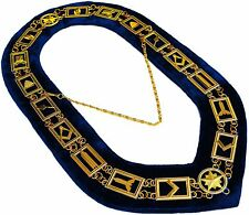 MASONIC REGALIA MASTER MASON BLUE LODGE GOLDEN METAL CHAIN COLLAR )))))))