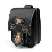 Universal Motorrad Saddle Luggage Black Kreuz Style Leder Seite Werkzeug Tasche.