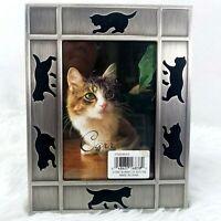 "NEW Burnes Of Boston 5x7 Silver Frame Photo Size 3.5""x5"" Black Cats Walk Around"