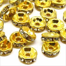 Lot de 50 Perles Strass Rondelles Intercalaires 6x3mm Doré