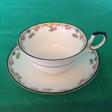 BONE CHINA CUP & SAUCER BY PARAGON SMALL PINK ROSES YELLOW BAND BLACK TRIM