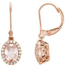 Oval Morganite and 1/5 CTW Diamond Halo Earrings 14K Rose Gold