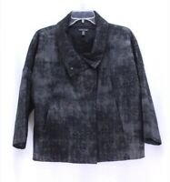 womens charcoal EILEEN FISHER grandeur jacket stretch cotton oversized XS