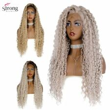 Synthetic Lace Front Wig Ombre Long Curly Hair Wig Silver-grey/Black Roots Wigs