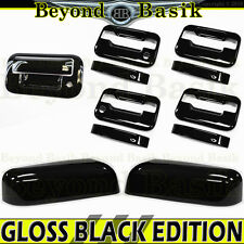 2009-2014 F150 Crew GLOSS BLACK Door Handle Covers wPK noKP+Top Mirrors+Tailgate