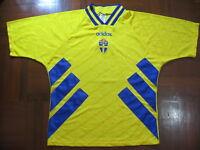 SWEDEN WORLD CUP 1994 ADIDAS HOME FOOTBALL SOCCER JERSEY SHIRT L VTG MAILOT