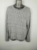 MENS FARRELL GREY MARL CABLE KNIT LONG SLEEVED CREW NECK JUMPER XL EXTRA LARGE