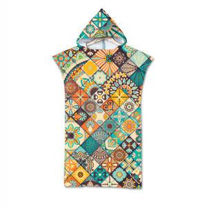 BOHO Mandala Geometric Diamond Leaf Hooded Swim Beach Poncho Towel Changing Robe