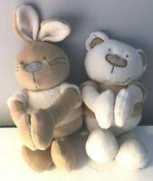"""Baby Nursery Soft Toy Animals Bruin Bunny & Bear 10"""" Plushie  <SW5532z"""