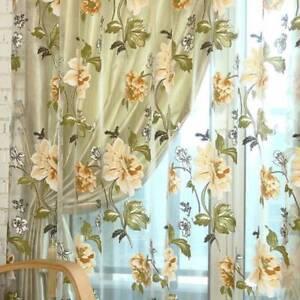 Beige Purple Peony Flowers Windows Tulle Luxury Sheer Curtains Window Treatment