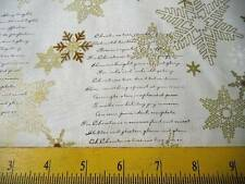 SALE STOF Fabrics Snowflakes in Gold Christmas Tree Words Brilliant for Quilts