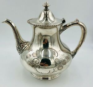 """Pairpoint Mfg. Co. Silver Plated Coffee Pot / Tea Pot 366 Floral Etching - 8.5"""""""