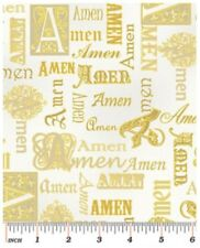 Religious Fabric - Bible Study Gold Metallic Amen - Benartex Kanvas YARD
