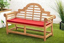 Red Waterproof Cushion Pad Lutyens Teak Bench Garden Furniture Outdoor Seat