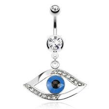 Gem Pierced Navel Naval Blue (w828) Egyptian Eye Belly Ring Paved Cz Clear