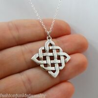 Celtic Knot Necklace - 925 Sterling Silver - Irish Love Knots Pendant Gift NEW