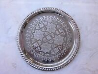 """Small Moroccan Handmade Serving Brass Tea Tray 10"""" (25 cm) round Silver Plated"""