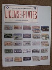 1979 Dpt of Transportation ~ US & Canada Car License Plates Fold-Out Brochure