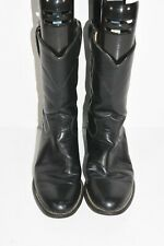 JUSTIN L3703 WOMENS 6.5 B BLACK LEATHER CLASSIC ROPERS ROUND TOE COWBOY BOOTS