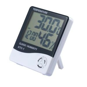 Digital Clock LCD Thermometer Hygrometer Humidity Meter Room Office Indoor -UK
